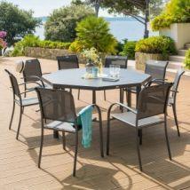 Table de jardin Aluminium Piazza octogonale - Gris graphite - Table de jardin