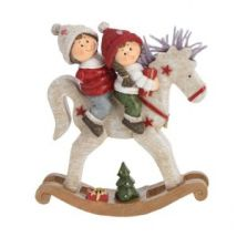Niños y caballo de madera para colocar Multicolor