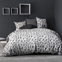 Funda nórdica y dos fundas para almohadas algodón (240 cm) Réseau Negra