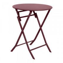 Table de jardin ronde pliante Métal Greensboro (D60 cm) - Bordeaux - Table de jardin