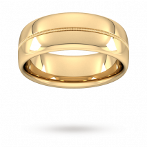 8mm Traditional Court Standard Milgrain Centre Wedding Ring In 9 Carat Yellow Gold - Ring Size P