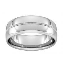 8mm D Shape Heavy Milgrain Centre Wedding Ring In 9 Carat White Gold - Ring Size Q