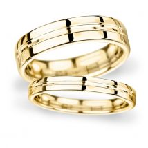 7mm Flat Court Heavy Grooved Polished Finish Wedding Ring In 9 Carat Yellow Gold - Ring Size R