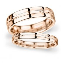 4mm Traditional Court Standard Grooved Polished Finish Wedding Ring In 9 Carat Rose Gold - Ring Size Q