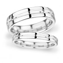 7mm D Shape Heavy Grooved Polished Finish Wedding Ring In 9 Carat White Gold - Ring Size R