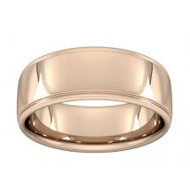 8mm Slight Court Standard Polished Finish With Grooves Wedding Ring In 9 Carat Rose Gold - Ring Size Q