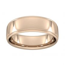 7mm Slight Court Standard Polished Finish With Grooves Wedding Ring In 18 Carat Rose Gold - Ring Size S