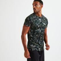 Domyos - T Shirt Technique Fitness Gris Imprimé Camouflage Kaki - 40 / M