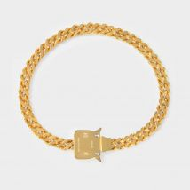 Cubix Chain Necklace with Fixed Buckle in Golden Brass