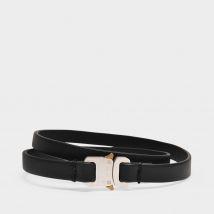 Micro Buckle Belt in Black Leather