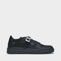 Buckle Low Trainers in Black Satin