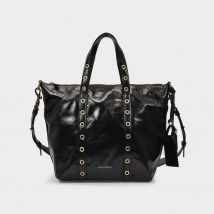 Zippy Pm Bag in Black Cracked Leather