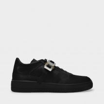 Satin Buckle Low Trainer Sneakers in Black Polyester