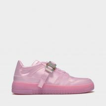 Buckle Low Trainers in Pink Satin
