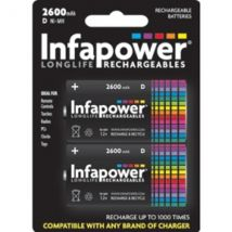 INFAPOWER D Size 2600MAH NI-MH Rechargeable Batteries (2-Pack) B006