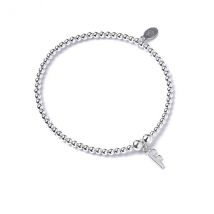 Initial F Charm with Sterling Silver Ball Bead Bracelet