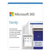 Microsoft Office 365 Family, 6 Users (PCs/Macs, Tablets & Phones), 1 Year Subscription