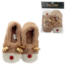 Plush Christmas Reindeer Heat Pack Slippers (Unisex One Size)