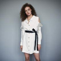 Robe-chemise rayée à volants Blanc/noir - Maje