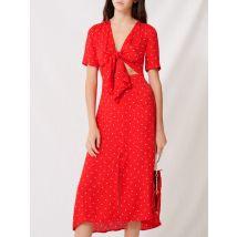 Robe Longue Nouée À Imprimé Pois - T34 - Rouge - Maje