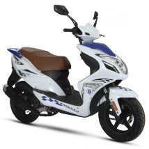 Scooter thermique 50 cm³ 4T Euro 4 CKA R8 blanc/ bleu brillant Eurocka
