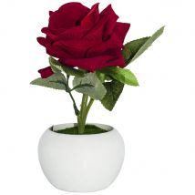 Beautiful Artificial Red Rose with Velvet Feel Petals in White Plastic Vase by Happy Homewares