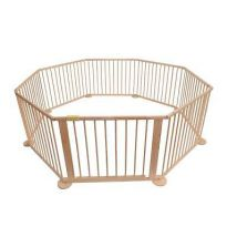 LARGE 8 SIDED FOLDABLE WOODEN BABY PLAYPEN ROOM DEVIDER INDOOR AND OUTDOOR USE