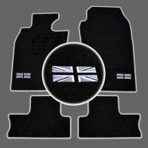 4 TAPIS SOL MINI 2001-2006 R50 R53 MOQUETTE LOGO FLAG UK + CONTOUR SUR MESURE
