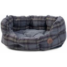 Petface High Sided Medium Size Oval Bed - Grey Tweed
