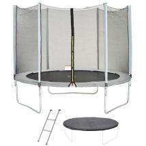 Trampoline Maxi Eco Ø 300 cm Gris Filet, Echelle, Couverture de Protection
