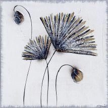Pissenlit Toile peinte 70x70 cm Noir et beige