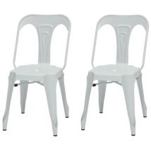 Kraft Zoeli Lot de 2 chaises de salle à manger Métal blanc mat Style industriel L 44 x P 53 cm