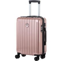 Ikase Valise Cabine Connectée Trolley Rigide Polycarbonate 8 Roues 50 cm Or Rose