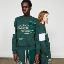 Lacoste - Sweatshirt en coton brodé Édition Défilé - Couleur : Vert