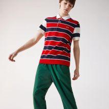 Polo Lacoste regular fit en maille ultra-légère à rayures - Couleur : Rouge / Bleu Marine / Beige / Blanc