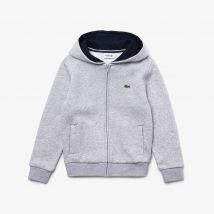 Sweatshirt zippé Enfant Tennis Lacoste Sport en molleton uni - Couleur : Gris Chiné / Bleu Marine