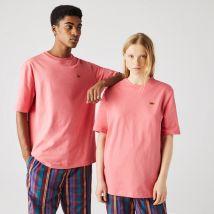T-shirt unisexe Lacoste Live ample en coton uni - Couleur : Rose