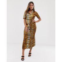 Missguided - Robe chemise mi-longue à imprimé tigre-Multicolore