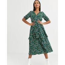 Missguided - Robe mi-longue à volants étagés et motif fleurs - Vert