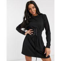Missguided - Robe t-shirt à manches longues avec détail corset - Noir