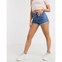 Missguided - Short en jean taille haute à revers-Bleu