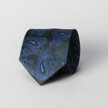 Cravate en soie verte paisley