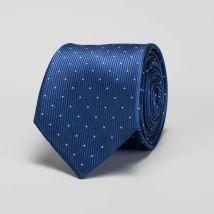 Cravate bleue à pois en soie
