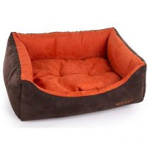Suede Collection Domino Dog Basket Martin Sellier Domino Collection Suedine Taupe Et Crème - 90 X 70cm