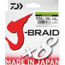 Tresse Daiwa J Braid X 8 Chartreuse - 150m 22/100