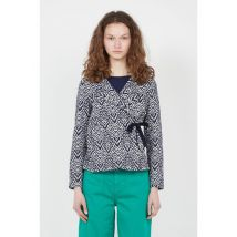 printed jacket with tailored collar