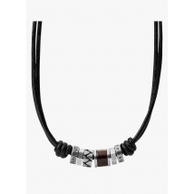 leather necklace fossil noir