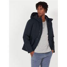 high-neck coat with hood tommy hilfiger blue