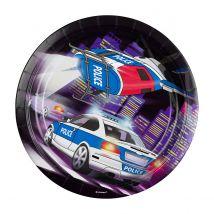 8 assiettes - voiture de police - 23 cm