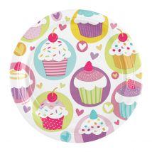 8 assiettes en carton - cupcakes